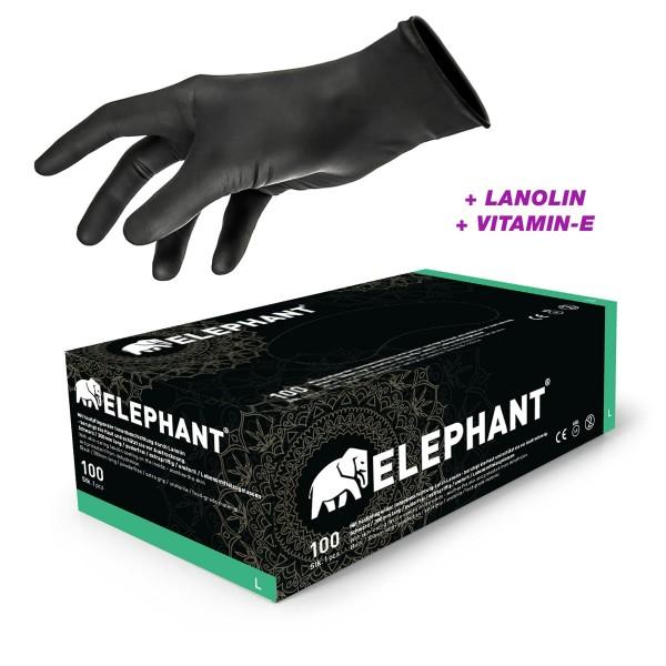 Elephant - Premium Handschuhe mit Lanolind Innenbeschichtung - 100 Stck. - Schwarz
